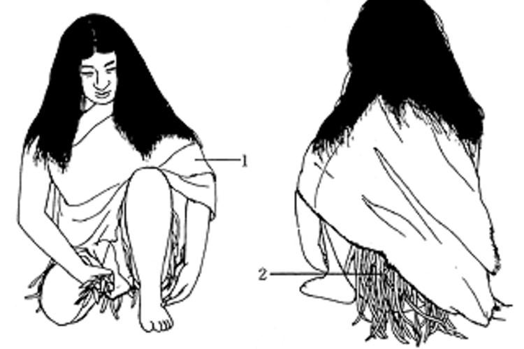 腰蓑をつけた女性
