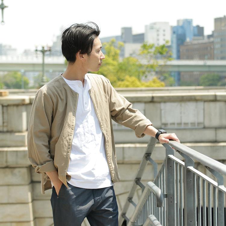 ROCOCO(ロココ) ノーカラー シャツ カーディガンの上半身着用