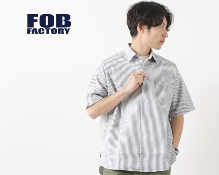F3448 ハーフスリーブ シアサッカーストライプ ボールシャツ