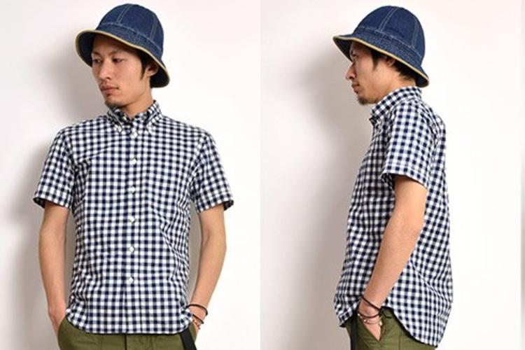 ギンガムチェック ボタンダウンシャツ タイプライター スタンダードフィット 半袖