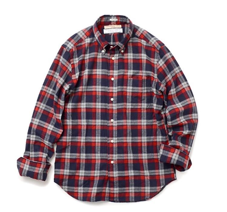 ROCOCO チェックフランネル ボタンダウンシャツ